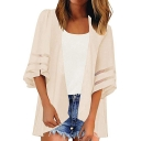 Womens New Trendy Simple Plain Mesh-Panel Sleeve Sun Protection Beach Kimono Blouse