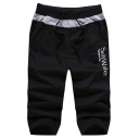 Men's Popular Fashion Letter SALTWATER Printed Drawstring Waist Casual Sports Sweat Shorts