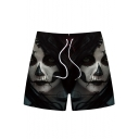 Men's Summer Hot Fashion 3D Anime Character Printed Drawstring Waist Black Casual Relaxed Shorts