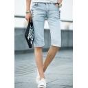 Men's Summer New Fashion Light Blue Plain Button Embellished Slim Fit Casual Denim Shorts