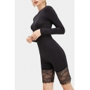 Women Stylish Black Long Sleeve Round Neck Lace Patch Playsuit Body-Shaped Fitted Romper