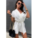 Summer Womens Hot Fashion Causal Tie-Waist V-Neck Solid Color Casual Loose Romper