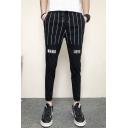Men's Trendy Stripe Letter MANG LOVE Printed Drawstring Waist Black Casual Pencil Pants