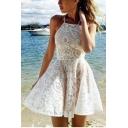 Summer Womens Halter Neck Sleeveless Mini A-Line White Lace Dress