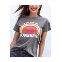 Fashion Rainbow Letter YOU ARE MY SUNSHINE Printed Round Neck Short Sleeve Grey Tee