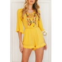 Summer Fashion Folk Style Yellow Floral Embroidered Cutout Tassel Trim High Waist Sexy Beach Romper for Women