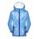 Mens Summer Unique Geometric Print Hooded Zip Up Ultra-Thin Breathable Sun Protection Jacket Coat