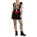 Womens Hot Sale Black Halloween Style Skeleton Print Scoop Neck Short Sleeve T-Shirt Mini Dress