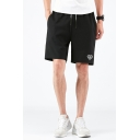 Men's Summer Trendy Logo Printed Drawstring Waist Black Casual Relaxed Shorts