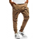 Men's New Stylish Solid Color Zipped Pocket Elastic Cuffs Khaki Casual Pencil Pants