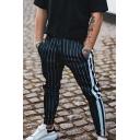 Men's New Fashion Colorblock Stripe Pattern Slim Fit Casual Pencil Pants
