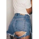 Summer Womens Hot Popular Destroyed Ripped Frayed Hem Denim Shorts