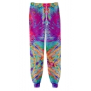 Creative Fashion Tie Dyeing 3D Printed Drawstring Waist Casual Cotton Joggers Sweatpants