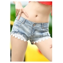 Womens Summer New Trendy Sexy Low-Rise Chic Lace-Trimmed Nightclub Hot Pants Denim Shorts