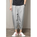 Chinese Style Trendy Solid Color Relaxed Fit Cropped Linen Carrot Pants for Men
