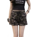 Summer Girls Popular Green Camo Print Drawstring Waist Casual Pull-On Shorts