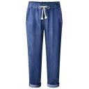 Summer Hot Popular Tie Waist Rolled-Cuff Ankle Grazer Tapered Harem Pants