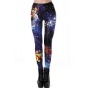 New Fashion Santa Claus Star Print Elastic Waist Slim Fitted Active Pants Leggings for Women