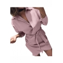 New Arrival Fashion Womens Plain Plunge V Neck Tie-Waist Long Sleeves Mini Shirt Dress