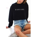 Popular Simple Letter BABYGIRL Print Crewneck Long Sleeve Loose Fit Sweatshirt