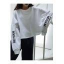Girls Simple Letter Long Sleeve Crewneck Loose Fit Cropped Sweatshirt