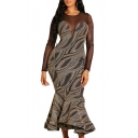 Fashion Mesh Patch Long Sleeve Round Neck Bodycon Spark Ruffle Hem Maxi Dress