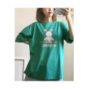 Girls Summer Cute Rabbit Doll Print Round Neck Casual Oversized Tee