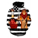 Funny Cartoon Striped The Lion King 3D Print Casual Loose Long Sleeve Pullover Hoodie