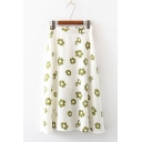 Womens Summer Fashion Floral Print Elastic Waist Polyester Casual Loose Holiday Maxi Skirt