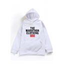 Hip Hop Style Letter THE MARATHON CLOTHING Print Long Sleeve Hoodie