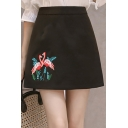 Womens Chic High Waist Floral Embroidered Zip-Back Mini A-Line Skirt