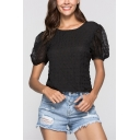 Womens Sexy Hollow Lace-Up Back Puff Short Sleeve Padded Texture Plain Fitted T-Shirt
