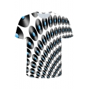 Cool 3D Allover Disc Printed Round Neck Short Sleeve Regular Fit T-Shirt