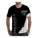 Mens Summer Cool Simple Letter Printed Round Neck Short Sleeve Black Tee