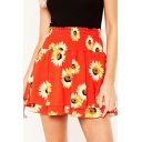 Summer Hot Fashion Orange Sunflower Print Shirred High Waist Double Layer Mini Skirt