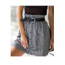 Womens Hot Stylish houndstooth Print Button Down Ruffle Waist A-Line Mini skirt