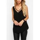 Womens Fashion Mesh-Panel V Neck Sleeveless Loose Fit Plain Tank Top
