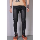 Men's Fashion Solid Color Knee Pleated Zipped Cuff Cool Distressed Black Slim Biker Jeans
