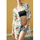 Hot Fashion Womens Floral Print Half Sleeve Chiffon Holiday Sunscreen Tunic Cardigan Shirt