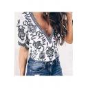 Summer Hot Fashion Elegant Plunge V Neck Floral Printed Short Sleeve T-Shirts