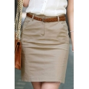 Summer New Arrival Plain Belt Waist Fitted Mini Suite Skirt for Woman