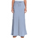 New Arrival Womens Fashion Plain Tie-Waist Washed Linen Loose Maxi Skirt
