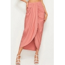 Womens Hot Popular Pink High Waist Knot Front Asymmetric Hem Midi Skirt