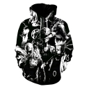 Funny Cool 3D Black Cartoon Comic Character Printed Long Sleeve Sport Unisex Hoodie