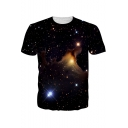 Fancy Black Starry Galaxy Printed Round Neck Short Sleeve T-Shirt