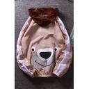 Funny Cartoon Bear Printed Long Sleeve Zip Up Hooded Skin Jacket