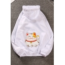 Cartoon Fortune Cat Printed Back Summer Breathable Sun Protection Zip Up Hooded Jacket
