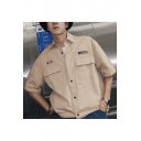 Guys Summer Trendy Hip Hop Style Letter Flap Pocket Front Short Sleeve Workwear Shirt