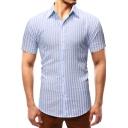 Mens Summer Stylish Vertical Stripe Printed Short Sleeve Slim Fit Button Shirt