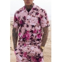 Mens New Stylish Pink Floral Printed Lapel Collar Short Sleeve Button Shirt